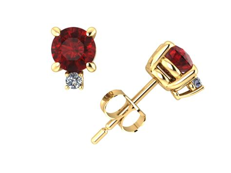 Ruby 7 2ct 1 2ct cut ruby stud earrings with accents 14k yellow