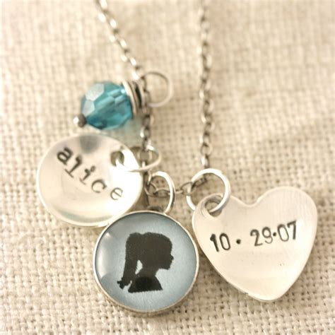Necklace Name Custom Child Silhouette Necklace 1 Silhouette Charm Small Name Charm Birthdate Heart 51 50