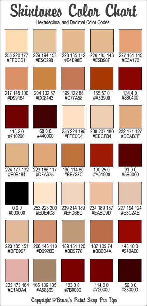 skin colors rgb and hex codes for different skin and hair tones