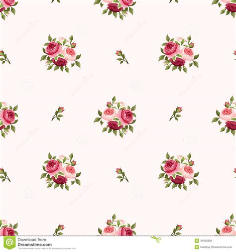 image pattern english seamless pattern with red and pink roses vector