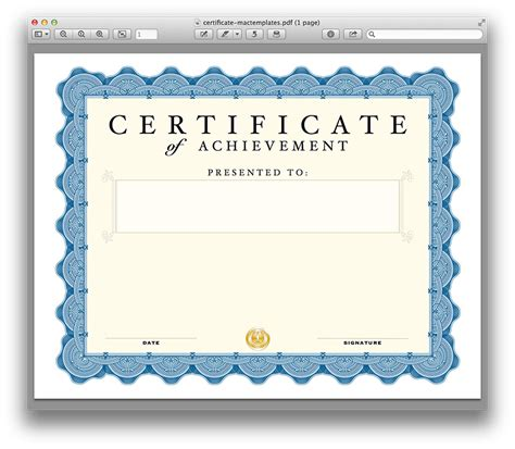 pdf certificate template certificate template for pages and pdf mactemplates