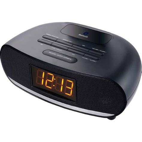 sylvania usb bluetooth alarm clock radio black tvs electronics portable audio