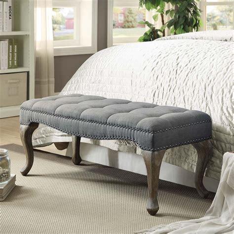 gray bedroom bench linon loire cabriolet linen nailhead bedroom bench in