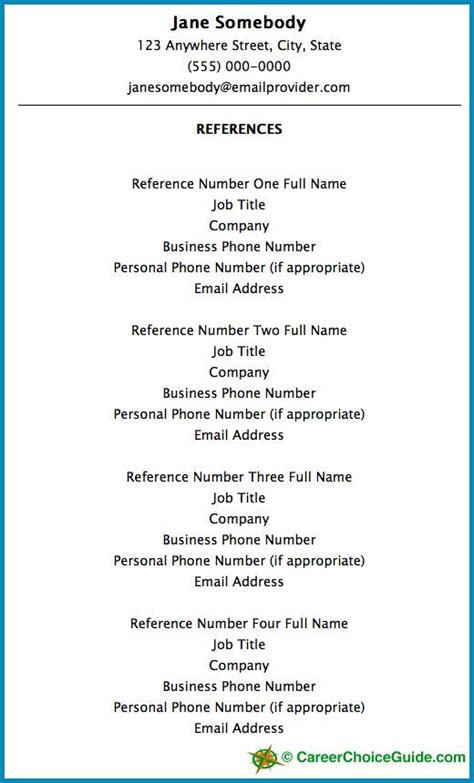Format Resume Reference List Reference Page For Resume New Calendar Template Site