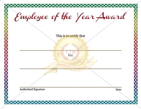 employee of the year certificate template employee of the year award certificate certificate template