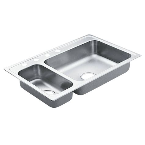 Moen Kitchen Sink Moen 2000 Series Drop In Stainless Steel 33 In 4 Basin Kitchen Sink G202854 The