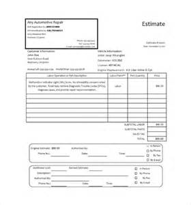 Car Repair Invoice Template by Sle Auto Repair Invoice Templates 7 Free