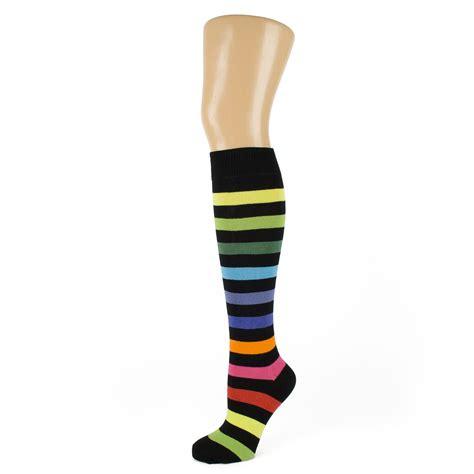 Striped The Knee Socks rainbow coloured striped knee high socks ebay