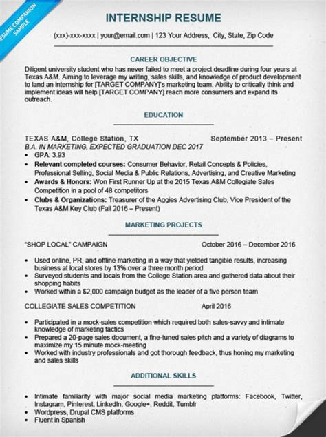 Resume Sles Internship College Students College Student Resume Sle Writing Tips Resume Companion