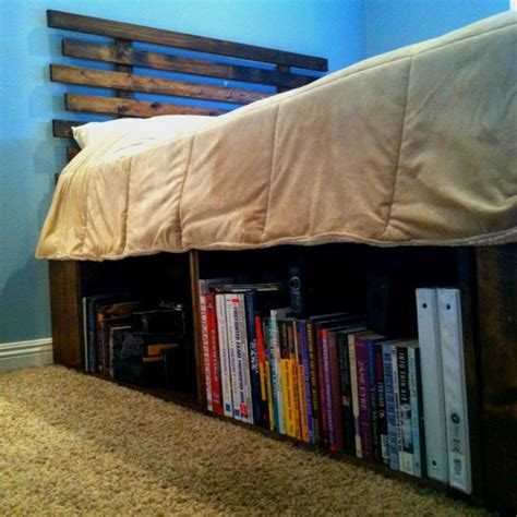Wooden Crate Bed Frame Diy Bed Frame And Headboard Using Fruit Crates For The Base Allowed For Some Bookshelves