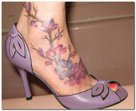 flowers on foot tattoo designs foot tattoos best designs