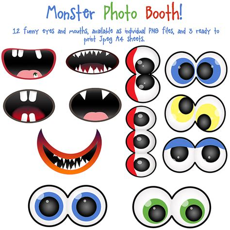 free printable monster eyes and mouth 5 best images of printable scary monster mouths monster