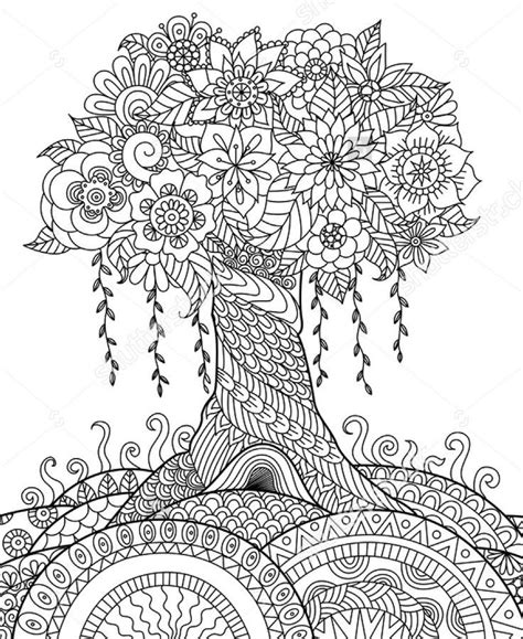 zentangle coloring book zentangle tree on a hill coloring coloring pages