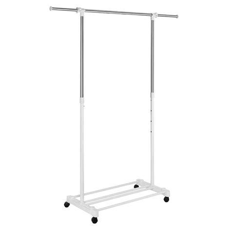 whitmor deluxe adjustable garment rack with wheels 6024