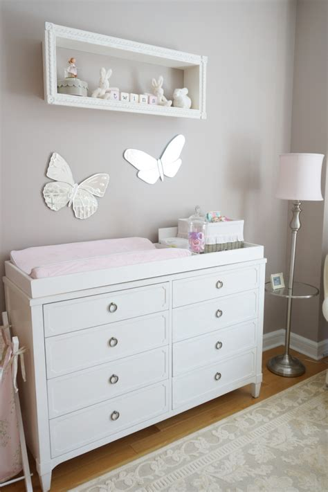 Pink Ivory And Grey Twin Girls Nursery Project Nursery Nursery Changing Table