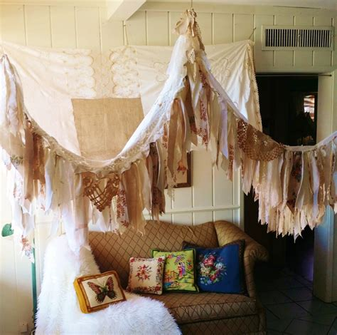 Boho Bed Canopy Shabby Chic Rustic Bed Canopy Boho Wedding Bohemian Hippy Vtg
