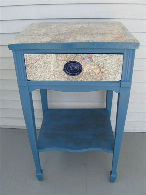 Decoupage End Table - decoupage recycled maps side table stand painted