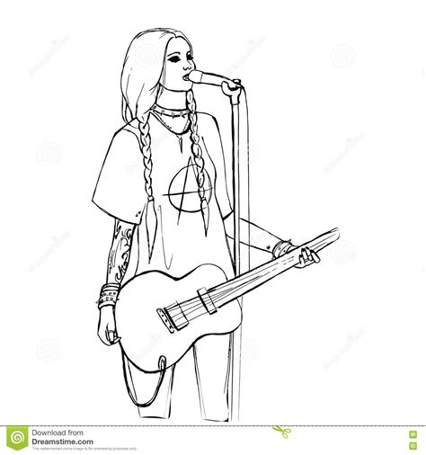 girl guitar coloring page electric guitar coloring pages rock girl with guitar