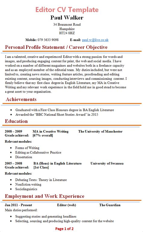 Cv Template To And Edit Editor Cv