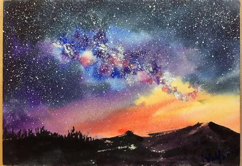 tutorial watercolor galaxy a step by step demonstration tutorial of starry night