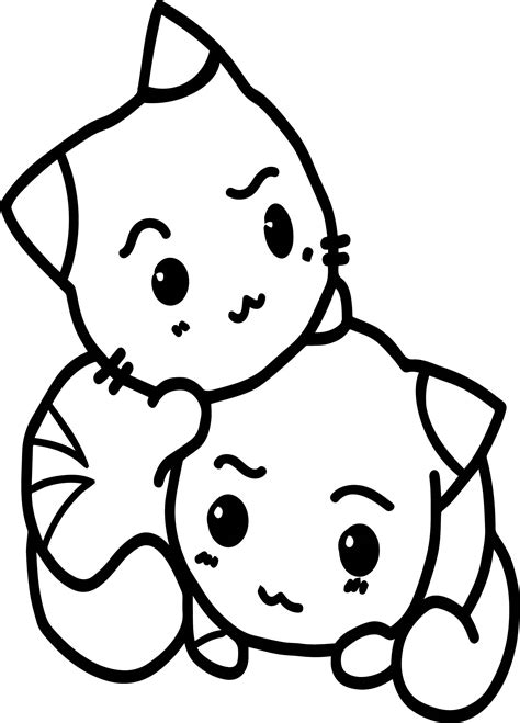 Two Cats Coloring Pages | two cats in love anime coloring page wecoloringpage