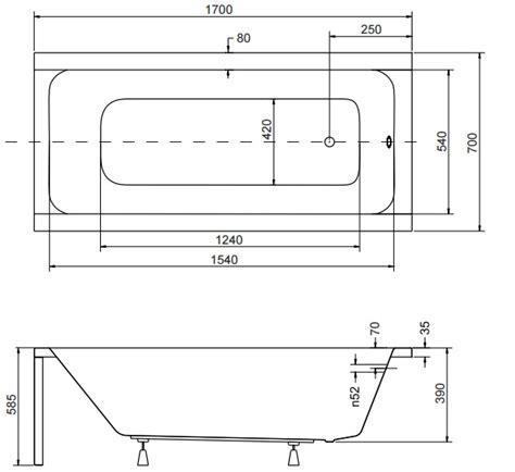 Badewanne Rechteck Acryl 120,130, 140, 150, 160, 170x70