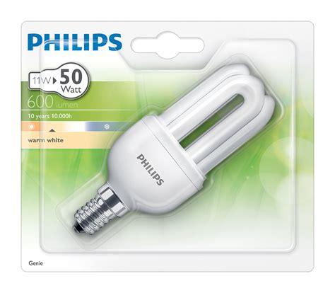Lu Philips Genie 11w Watt genie fluocompact bulb e14 11w 50w 600 lumen 11w