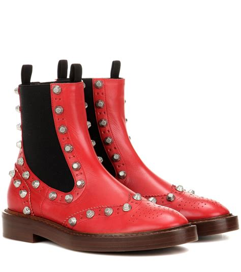 Embellished Leather Boots balenciaga embellished leather chelsea boots in lyst