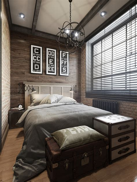 wood paneling in bedroom three dark colored loft apartments with exposed brick walls