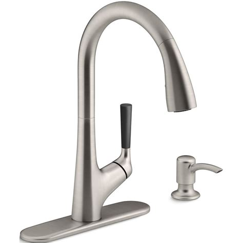 kohler co malleco 174 vibrant stainless steel one handle pull down kitchen faucet with soap