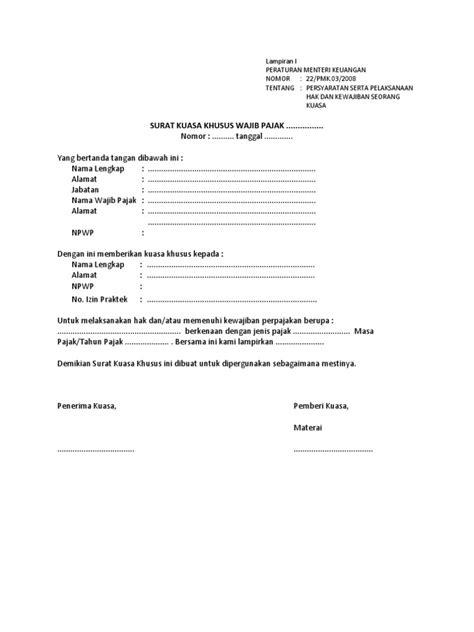 Contoh Surat Kuasa Pengurusan Pajak by Contoh Surat Kuasa Lapor Pajak Hullender