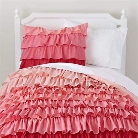 girls pink bedding pink ombre ruffled bedding set the land of nod