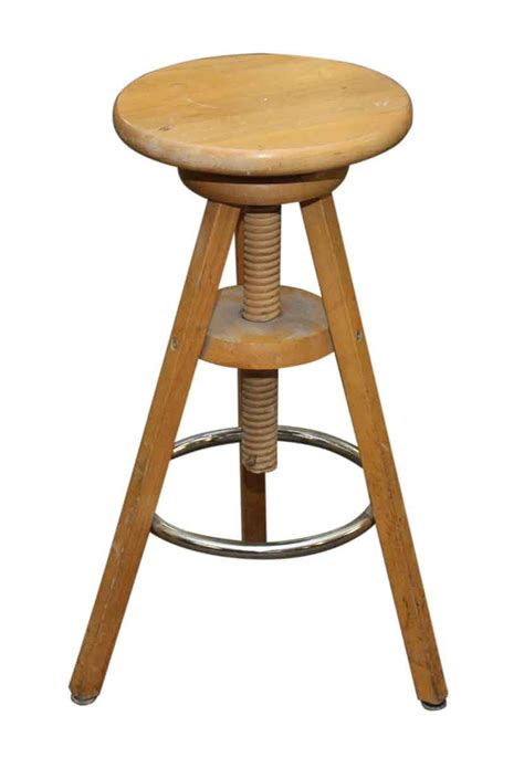 Vintage Wooden Stool by Vintage Wooden Stool With Adjustable Height Olde Things