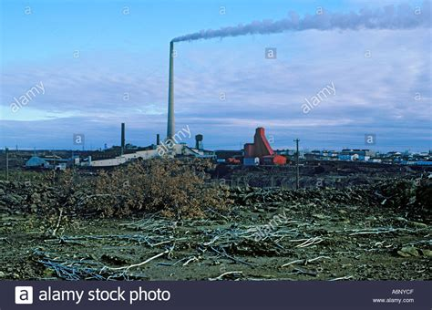 the smokestack of the smelter and effects of acid at flin flon stock photo royalty free
