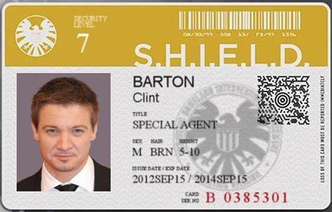 of shield id card template security level 7 clint hawkeye barton by hornswaggler