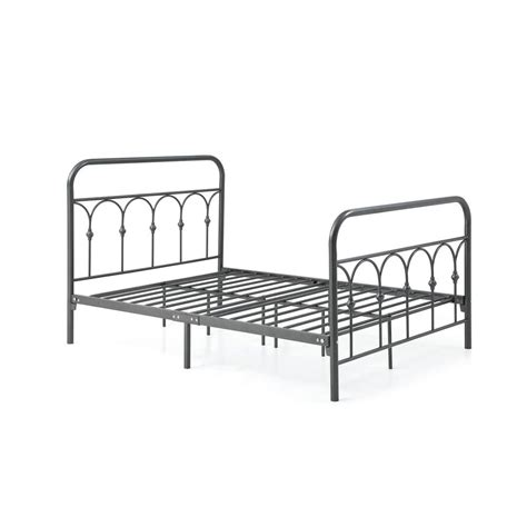 headboard and footboard rails hodedah complete metal charcoal full bed with headboard