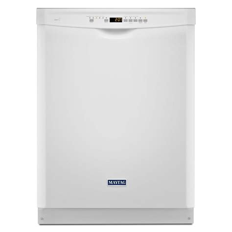 maytag front dishwasher in white with stainless
