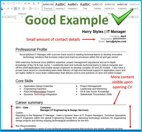 exle of a well written cv 4 ways to make the most of your cv s top quarter inside