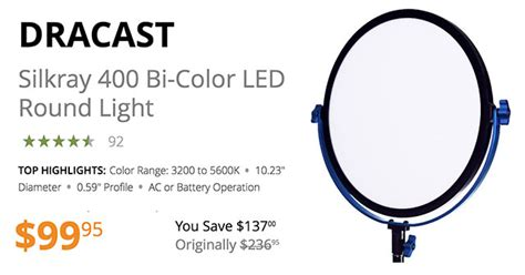 dracast silkray 400 bi color led light 10 quot dracast silkray 400 bi color led light