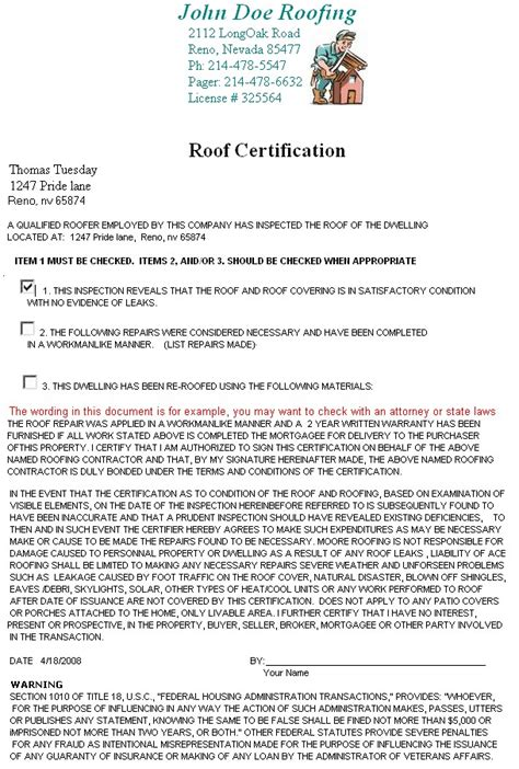 roof certification template printable invoice template