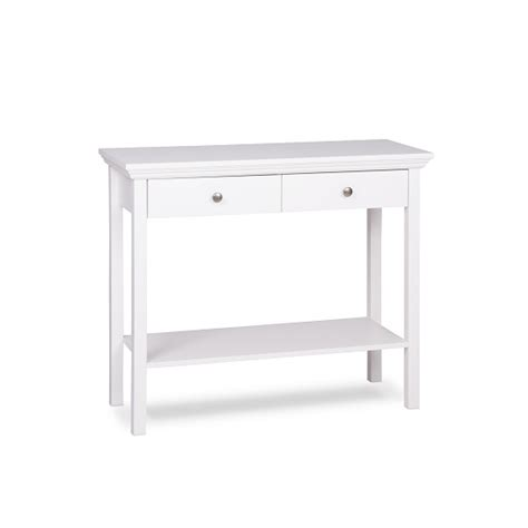 white console table with drawers country console table in white with 2 drawers 28080