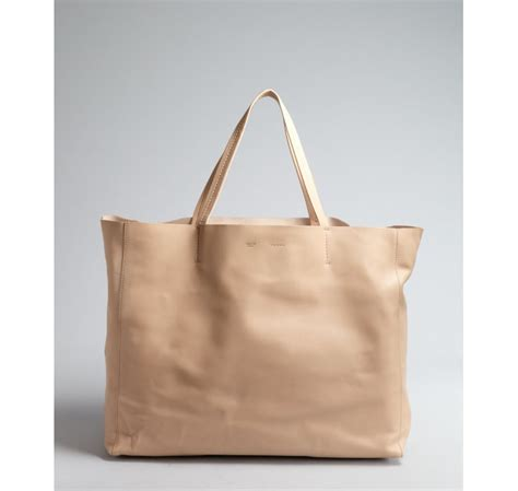 c 233 line beige leather large tote bag in lyst
