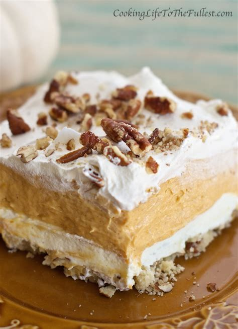 layered pumpkin lasagna dessert cooking life to the fullest