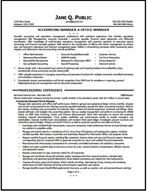 Accounting Supervisor Sle Resume by Accounting Manager Resume Sle The Resume Clinic