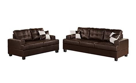 two piece sectional sofa in bonded leather espresso sofa product reviews buy poundex bobkona sherman bonded