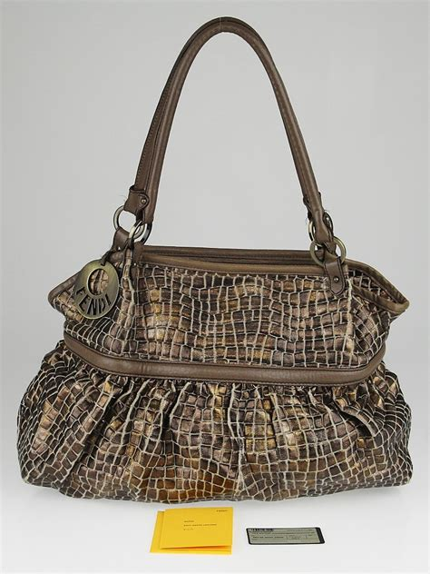 Fendi Large Quilted Chef Purse by Fendi Brown Metallic Croc Embossed Canvas Chef Large Tote