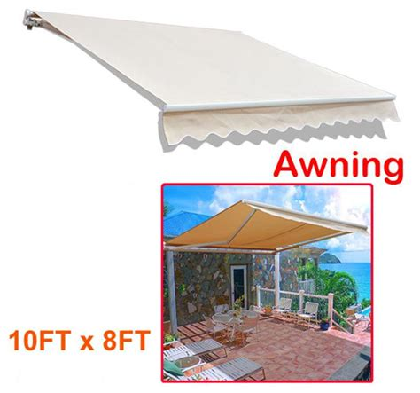 manual patio awning outsunny 10 manual retractable patio awning cream