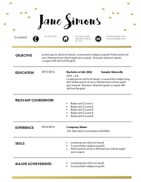 resume templates for internships internship resume template