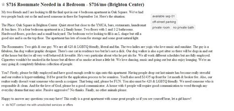 craigslist boston rooms wanted offbeat craigslist roomie ads are weirdly appealing news boston real estate