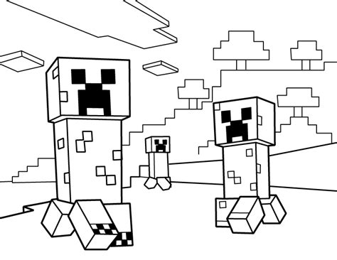 creeper minecraft free colouring pages